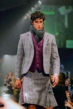 Grey and purple kilt suit - 21st Century Kilts Lose the scarf, get a sporran...