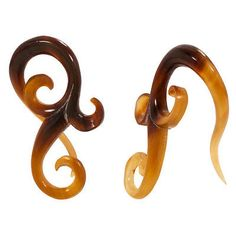 PAIR Organic Hanger RARE Natural Golden Horn Ear Plugs Flesh Rare Unique  | eBay