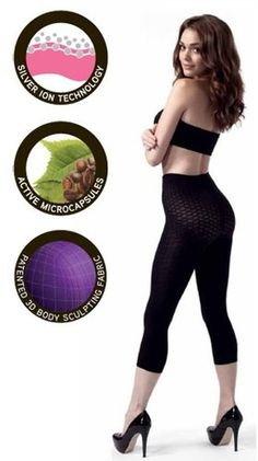 SLSCL22 Black Anti-Cellulite Thigh Slimming Shaping Capri Leggings Peachy Pink