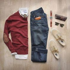 Burgundy & blue work well here, don't forget comfortable underwear completes the outfit