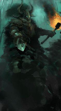"""Chaos Knight Sketch"" by Ling Yun (lingy-0) | #Fantasy #Warhammer"