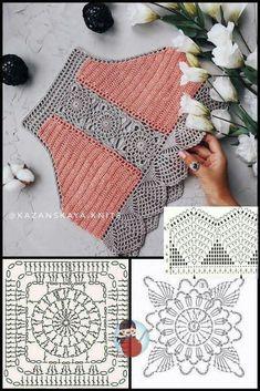 Crochet Bra, Crochet Diagram, Crochet Blouse, Crochet Chart, Thread Crochet, Crochet Motif, Crochet Designs, Crochet Clothes, Crochet Flowers