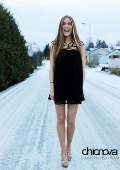LBD / Little Black Dress with Cage Neckline + Heels - so cute!! #fashion #dress #LBD #womens