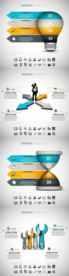 Business infographic & data visualisation 4 in 1 Business Infographics Bundle Infographic Description 4 in 1 Business Infographics Template Bundle. Design Presentation, Presentation Templates, Info Board, Folders, Web Design, Powerpoint Design Templates, Affinity Photo, Banners, Le Web