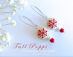 JOY - Handmade Christmas beige with red snowflake polymer clay earrings.