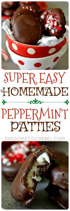 These Homemade Easy Peppermint Patties should end up on your holiday table this Christmas! Simple mint and chocolate-coated candy made with only 6 ingredients you probably have at home!