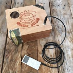 This portable speaker is built in a recycled cigar box. Each box contains a 3 Watt class-D amplifier and full range speaker driver. It is powered by