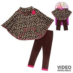 Dollie and Me Cheetah Poncho and Leggings Set - Toddler, $21.99