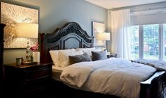 Transitional bedroom project by Dominika Pate Interiors Master Bedroom, Bedroom Decor, Transitional Bedroom, Design Projects, Design Ideas, Dark Wood, Curtains, Modern, Interiors