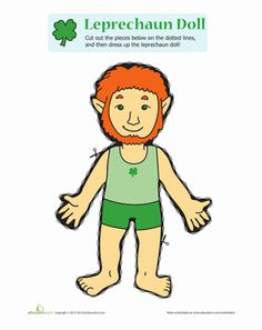 This printable #leprechaun #paperdoll comes with outfits for all his leprechaun needs, including overalls for casual days and coatails for formal occasions. #StPatricksDay #craftsforkids