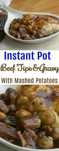 Instant Pot Beef Tips and Gravy with Mashed Potatoes Dump and Start Instant Pot . - - Instant Pot Beef Tips and Gravy with Mashed Potatoes Dump and Start Instant Pot . Potato Recipes, Beef Recipes, Cooking Recipes, Beef Meals, Fast Recipes, Yummy Recipes, Ninja Recipes, Cooking Bacon, Deserts