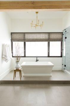 flat fold roman shade   Master Bathroom || Studio McGee