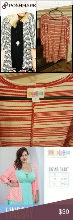 BNWT LulaRoe Lindsay Brand new, never worn. Red and white stripes. Size chart shown. LuLaRoe Sweaters Cardigans