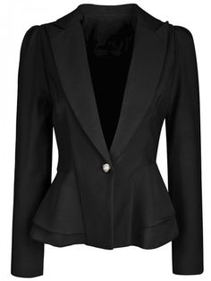 Product Name:Office Peplum Notch Lapel Single Button Solid Type:PlainOccasion:Formal / OfficePackage Included:Top / LapelSleeve:Long SleeveEmbellishment:Fl Casual Blazer Women, Blazers For Women, Embroidery Fashion, Blouse And Skirt, Black Blazers, Work Attire, Peplum, Style Inspiration, Fashion Outfits