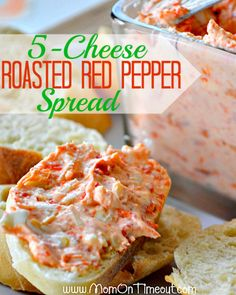 5 Cheese Roasted Red Pepper Spread : Mom On Timeout - Just as delicious as it sounds! Finger Food Appetizers, Yummy Appetizers, Appetizers For Party, Appetizer Dips, Appetizer Recipes, Best Superbowl Snacks, Snacks Für Party, Party Dips, Comfort Food