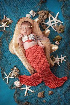 PDF PATTERN Calypso's Pearl Mermaid Set, newborn size- Instant Download on Etsy, $10.99