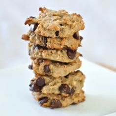 Vegan Peanut Butter Banana Chocolate Chip Cookies - no butter or sugar required.