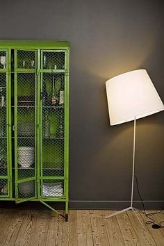 Repurposed lockers in Pantone Greenery look great with the dark grey.