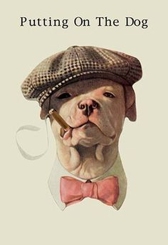 'Putting on the Dog' was a popular expression from the 1920s, which meant to dress up stylishly, in your best attire, in order to project yourself as someone of wealth or great importance. - FREE Ship