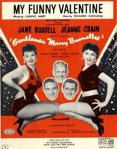 Great Pic Jane Russel Jeanne Crain Movie Tune My Funny Valentine Sheet  Music 1955
