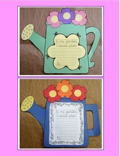 Spring Writing Watering Can Craftivity. Middle School Students write a descriptive 5 paragraph essay.