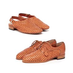 Tan woven 'sole mates' for the modern daydreamer. New MOSETTA sling back and MARIA 2 lace-ups by PORTA ROSSA.  Made in Italy.  Exclusive to Peter Sheppard Footwear.