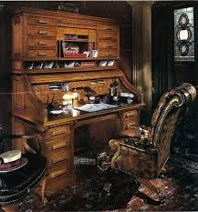 Roll Top Desks Or Secretaire Bureaus With Leather Chairs Are A Perfect Addition To Steampunk Inspired Study Room Library