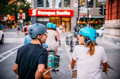 couple on bike path plateau montreal, quebec