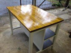 Ikea Freestanding Kitchen Island Bench-Breakfast Bar -Oak Top | eBay