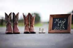 Cowboy boot baby announcement.