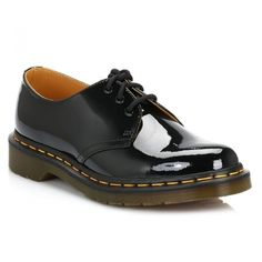 Dr Martens Womens Black 1461 Patent Leather Shoes ($96) ❤ liked on Polyvore featuring shoes, dr martens footwear, polish shoes, eyelets shoes, black patent shoes and shiny shoes
