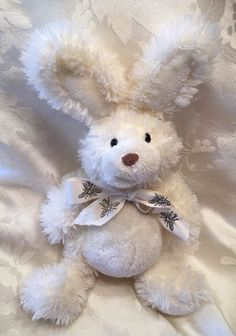 "Bunny Rabbit Bee Bow Ribbon 8"" Off White Cream Stuffed Plush Hard To Find  