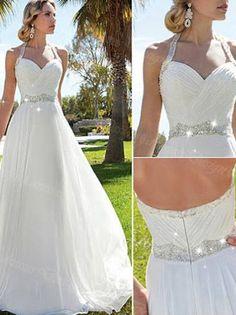 beautiful wedding dresses A-line Halter Floor-length Chiffon Wedding Dress Bride Bridal Dress #MK054