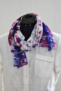 Silk Shibori Scarf - Hand Dyed Silk Scarf - Purple, Fuschia - Silk Chiffon - Gift for Her by WhatJennyMakes on Etsy Dyed Silk, Silk Chiffon, Shibori, Plaid Scarf, Gifts For Her, My Etsy Shop, Purple, How To Make, Shopping