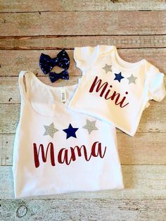 Mommy and Me Shirt  Custom Shirt Set Fourth of July Shirt