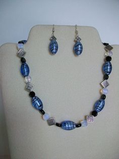 Short Blue Black White and Silver Necklace by DesignTrendsJewelry, $25.00