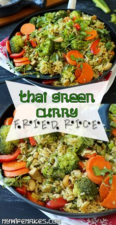 Thai Green Curry Fried Rice - delicious, spicy and simple to make. (V) #friedrice #asian #thai #colorfulfood #recipes #vegan