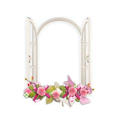Window with Pink Flowers Transparent Frame Flower Border Png, Floral Border, Cute Frames, Picture Frames, Window Picture, Flower Frame, Flower Boxes, Rose Clipart, Watercolor Flower Background