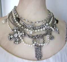 Vintage Statement Assemblage Necklace Rhinestones Pearls Chain Couture Glitz Stunning Chic Repurposed Jewelry OOAK by JryenDesigns. $215.00, via Etsy.