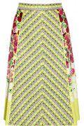 MARC JACOBS Tweed and floral-print crepe skirt