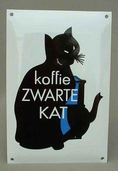 koffie Zwarte Kat gewölbtes Emailschild, dick emailliert, ca 20 x 30 cm, sehr schweres Trägerblech, Remake aus den 70er Jahren Verkauf: alte Werbung und Reklameobjekte Emailleschilder Blechschilder Emailschilder Werbeschilder