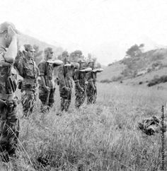 French paratroopers honored one of them KIA in the Djebel not far from Agounenda, Algeria 1957.