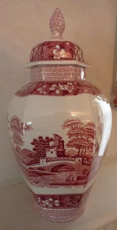 Ginger Jar by Copeland Spode in Pink Tower pattern c.1920