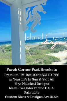 ® Seahorse Decorative Front Porch Bracket for Columns & Corner Posts. ® Seahorse Decorative Front Porch Bracket for Columns & Corner Posts. Porch Step Railing, Front Porch Columns, Cottage Shutters, Porch Brackets, Porch Styles, Porch Posts, Pool Cabana, Tropical Decor, Coastal Decor