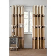 Room Darkening Faux Silk with Pleated Band lined Curtain (Two Panel)