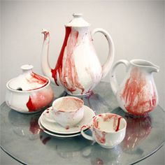 Limited Edition Art Objects for the Home - Coffee Set - Ideas of Coffee Set - tea party massacre : wondering if this can be made at home with an inexpensive white tea set & glass paint from a dept. Holidays Halloween, Halloween Decorations, Halloween Party, Halloween Kitchen Decor, Halloween Table, Halloween 2014, Vampire Party, New Museum, Museum Store