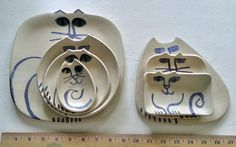 Ceramic Cat plate set 7: square triangle round by firecat on Etsy