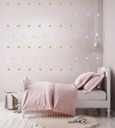 Hartjes (goud/roze) - Muurstickers