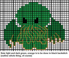 cthulhu cross stitch embroidery pattern by miss_j_bean, via Flickr