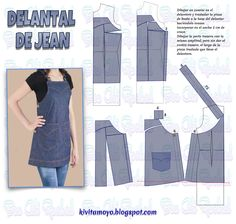 Small Sewing Projects, Recycle Jeans, Fashion Sewing, Dressmaking, Blouse Designs, New Dress, Apron, Sewing Patterns, Fabric